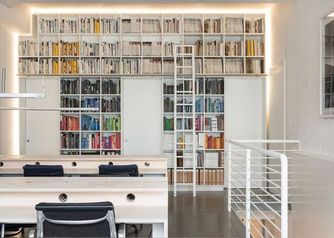 *** INTERIOR - Affordable Differentiator - stack IKEA bookcases and leave small gap/cove around perimeter for LED strip lighting + Add ladder for easy access and cool look.