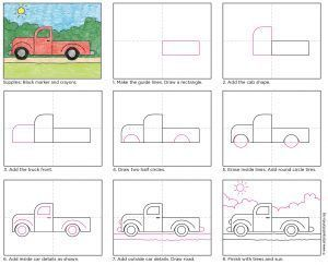 How To Draw A Pickup Truck Download My Pdf To Draw Your Own Howtodraw Directdraw Pickuptruck Kids Art Projects Truck Art Easy Drawings