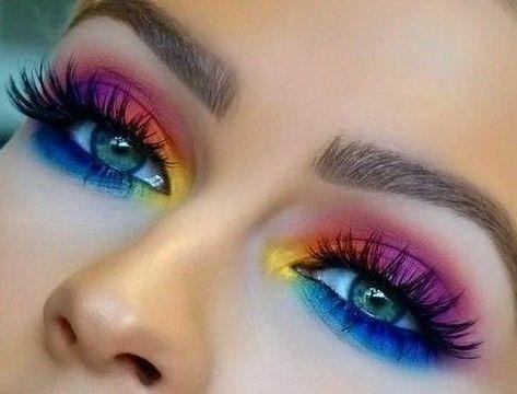 What is Makeup ? What is Makeup ? In general, what's makeup ? Makeup Eye Looks, Eye Makeup Art, Beautiful Eye Makeup, Cute Makeup, Pretty Makeup, Eyeshadow Makeup, Makeup Eyes, Rainbow Eye Makeup, Colorful Eye Makeup