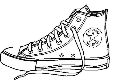 Converse shoe lineart by on