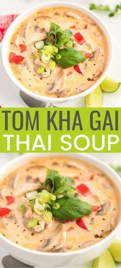 This Tom Kha Gai Soup recipe, also known as Chicken Coconut Soup, is an incredibly aromatic and flavorful Thai dish made with chicken, mushrooms, peppers, in a creamy coconut broth. #chicken #souprecipe #thai