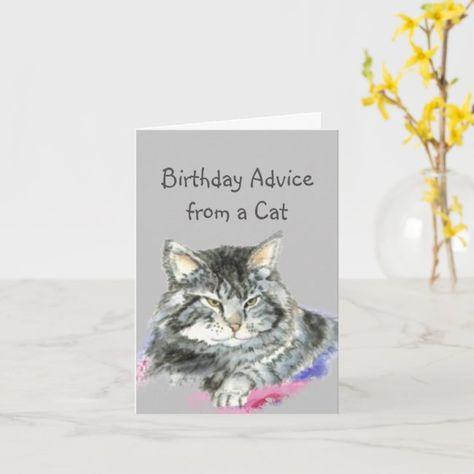 Birthday Advice from a Cat Fun Animal Humor Card
