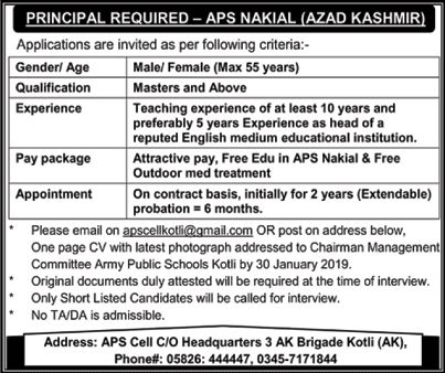 Application Are Invited For Various Posts Underarmy Public School