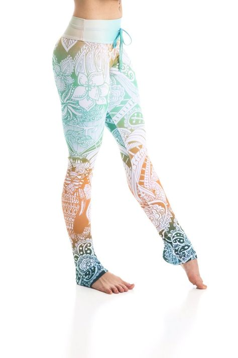 Om Shanti Leggings Inspired by henna tattoos, these haute couture Arthletic leggings are truly exotic and one of a kind. With olympic grade compression fabric, and incredible sweat wicking material, you can can still em