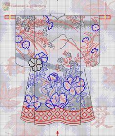 Japanese Purple Leaves Kimono Counted Cross Stitch Chart Pattern