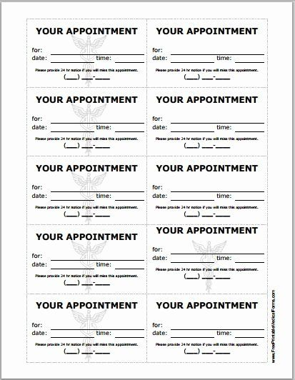 Free Printable Appointment Reminder Cards New Patient Appointment Cards Template Card Templates Free Business Card Appointment Card Templates Printable
