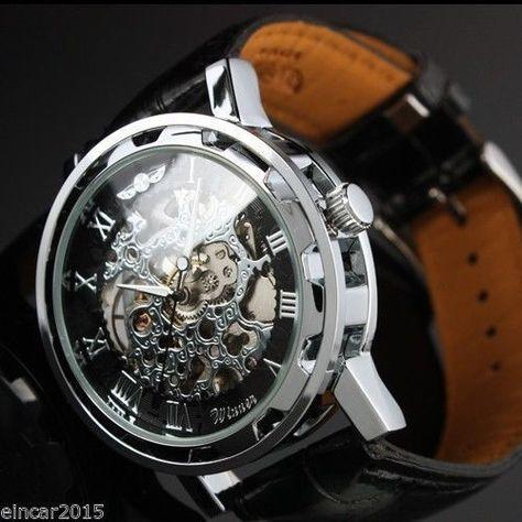 Fashion Mens See Through Skeleton Mechanical Sport Army Wrist Watch Dress Gift