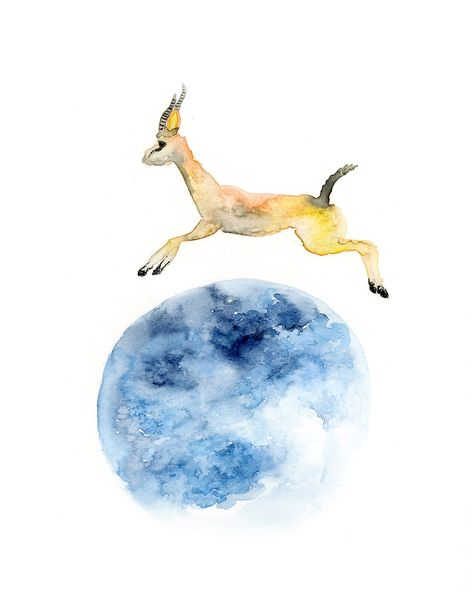 58e1c65e67a32 Reach for the Moon Watercolor Art Print / Moonshot Watercolor ...