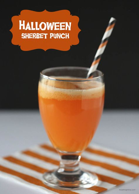 Make this Halloween sherbet punch with just a few simple ingredients! Super yummy and easy!