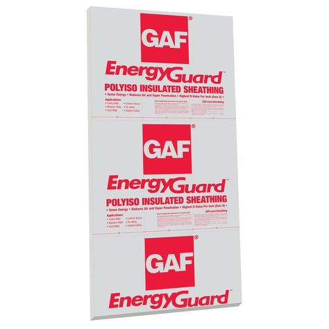 Gaf Energyguard 1 In X 4 Ft X 8 Ft R 6 1 Polyisocyanurate Insulating Sheathing 1s03 The Home Depot Foam Insulation Board Foam Board Rigid Foam Insulation