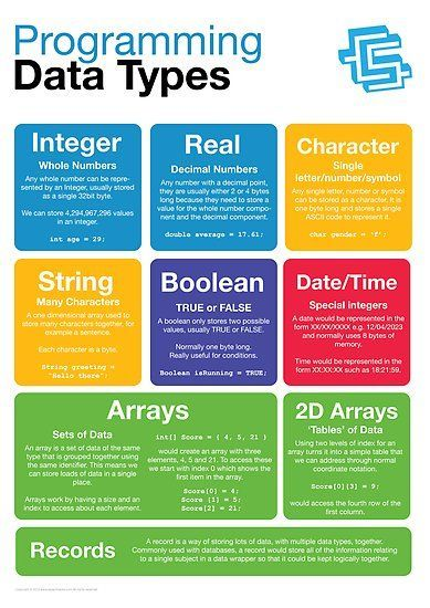 Buy 'Programming Data Types (Coding Literacy)' by lessonhacker as a Poster, Throw Pillow, Tote Bag, or Greeting Card