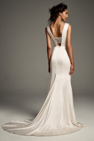 Crepe Back Satin Gown With Encrusted Bandeau David S