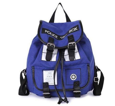 67b4e569bf10 Doctor Who Tardis Backpack Buckle Slouch Bag Purse Police Box Shoulder Bag