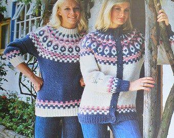 PDF Vintage Mens Ladies Fair Isle Kimono Wrap Over Cardigan Coat Knitting Pattern Chunky 32-38in Downloadable 1421