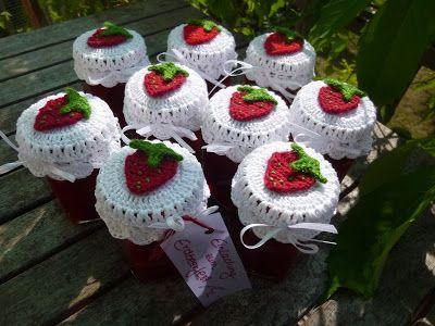 Häkeln Im Quadrat Erdbeerparade Crochet Jar Lid Cover Free