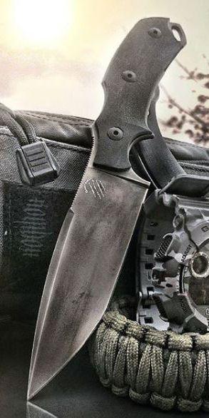 Bastinelli 04V2 RED V2 Black PVD Fixed Blade Knife | Knives