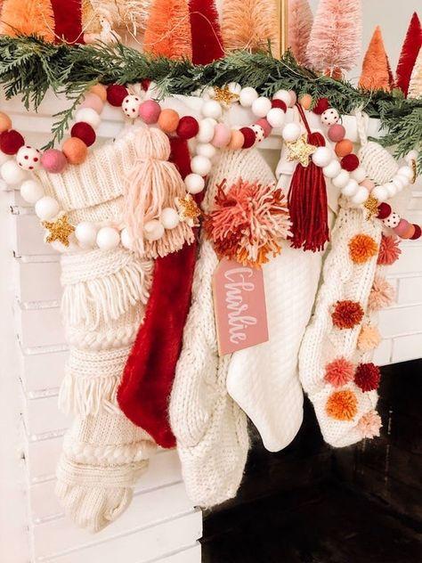 965 Likes, 36 Comments - Amy Cozy Christmas, Christmas Stockings, Christmas Holidays, Christmas Decorations, Happy Holidays, Felt Ball Garland, Diy Garland, Christmas Aesthetic, Christmas Inspiration