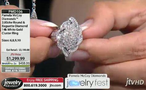 14K White Gold Lovers!  PMD106 Pamela Mccoy Diamonds(Tm) 2.00ctw Round & Baguette Diamond 14k White Gold Cluster Ring ERV: $3,199.00 JTV Price: $1299.99