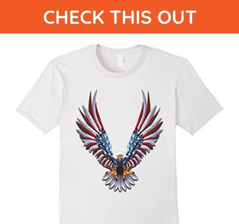 American Flag On Bald Eagle Wings Men/'s T-shirt 4th of July USA Flag Tee