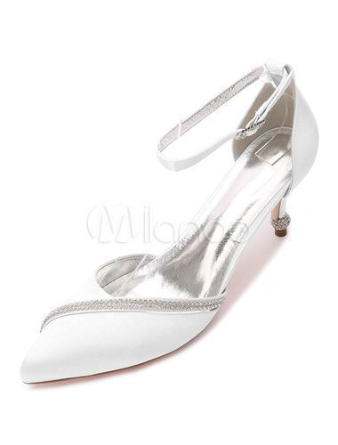 Satin Wedding Shoes Pointed Toe Rhinestones Ankle Strap Bridal