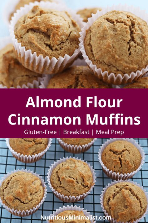 Gluten-free cinnamon muffins made with almond flour and sweetened with maple syrup. Perfect for a healthy snack or grab and go breakfast. Try making a batch of these easy and moist muffins as part of your next meal prep to enjoy all week long! Muffins Sans Gluten, Almond Flour Muffins, Baking With Almond Flour, Cinnamon Muffins, Almond Flour Recipes, Almond Flour Desserts, Cookies With Almond Flour, Sugar Free Muffins, Almond Flour Bread