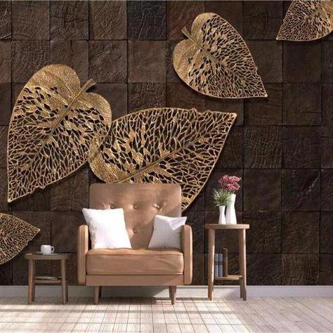 Golden Leaves Wallpaper Mural Modern 3d Wallcovering Wall