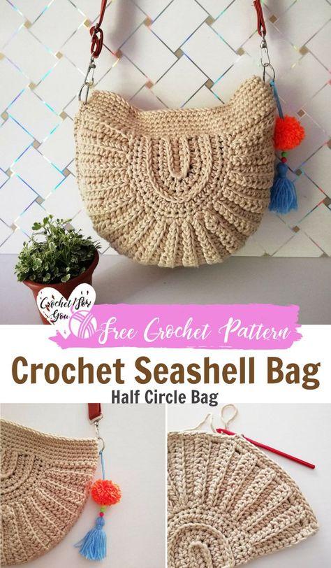 Crochet Seashell Bag Pattern by Crochet For You. #crochet #circle #bag #freecrochetpatterns  #crochetforyoublog