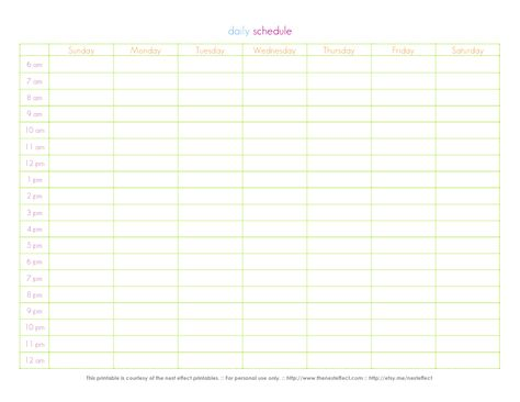 Printable Weekly Hourly Schedule Template   Pinteres