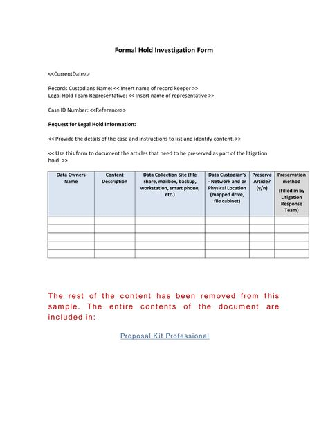 Formal Record Hold Investigation Form - Use the Formal Record Hold - erisa attorney sample resume
