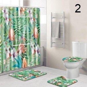 Shower Curtain Waterproof Fabric Polyester Nativity of Jesus Bathroom Mat Set
