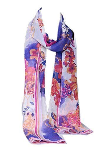 Prettystern Damen Uni-farbe Georgette Seiden-schal Stola