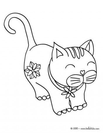 Kawaii Cat Coloring Pages Hellokids