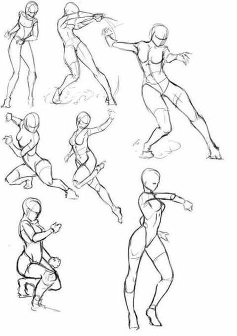 Bocetos Y Guias Para Dibujantes Poses De Pelea Dibujo De Posturas Bocetos Dibujos De Personas