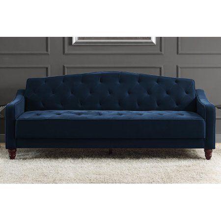 Novogratz Vintage Tufted Sofa Sleeper Ii Navy Velour No Https
