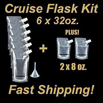 Funnel Plastic Flask Cruise Kit Runners Alcohol Wine Liqour 4x 8oz