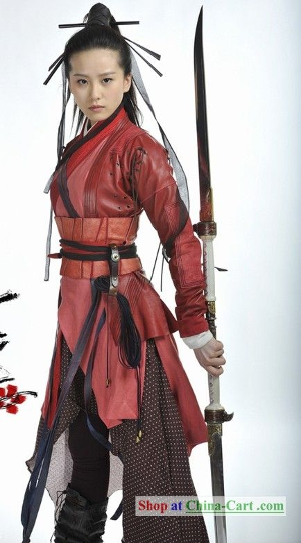 Traditional inspired yet modern looking asian warrior costume. Love this style and combination of material choices.