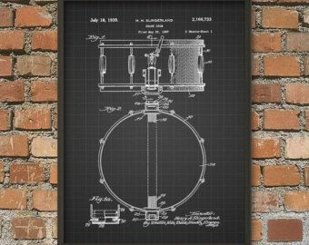 Snare Drum Patent Wall Art Poster 2 Drum Design Drum Kit Drummer Gift Idea Musician Music Room Wall Art Music Room Wall Drummer Gifts Room Wall Art