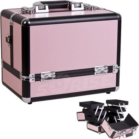 Pink Cosmetic Case by Just Case USA Inc.. $57.43. This makeup case has a high quality beautiful new black panel aluminum finish with black aluminum trimming. This cosmetic organizer has 3 extendable trays on both side, brush holders beneath the lid and a large center storage compartment. This product has an easy to clean interior, a heavy duty handle and a superior shoulder stap. It also has 2 secure easy close latches with key locks. Product (LxWxH) dimensions: ...