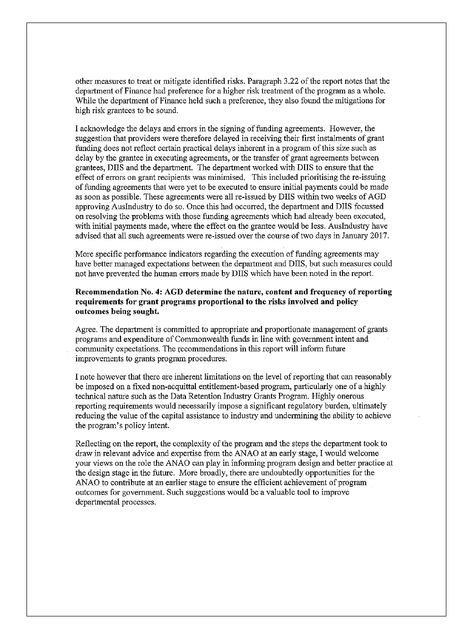Administration Of The Data Retention Industry Grants Program