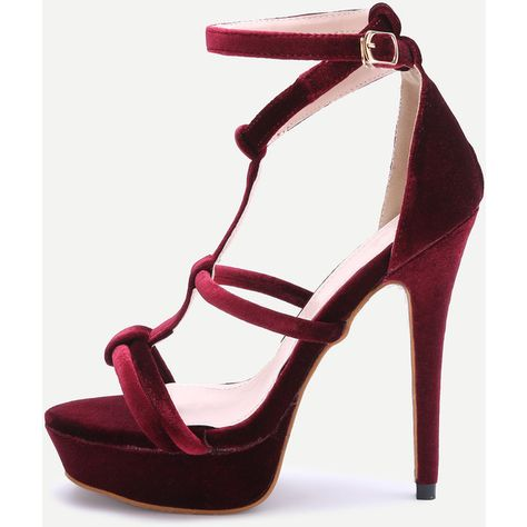aebe000de637 Burgundy Open Toe Strappy Platform Heeled Sandals ❤ liked on Polyvore  featuring shoes