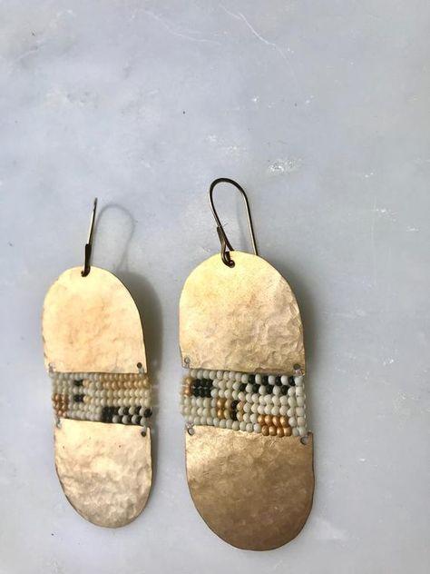 Items similar to Lilliana Earrings // Brass // gold filled earwire on Etsy Long Tassel Earrings, Seed Bead Earrings, Glass Earrings, Etsy Earrings, Beaded Earrings, Earrings Handmade, Beaded Jewelry, Handmade Jewelry, Clay Jewelry