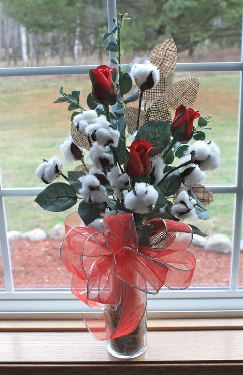 Set 3 Cotton Boll Stem 32 Simple Charming Southern D/écor Wired Vases Floral Arrangements Wreaths Crafts Second Wedding Anniversary Farmhouse Style