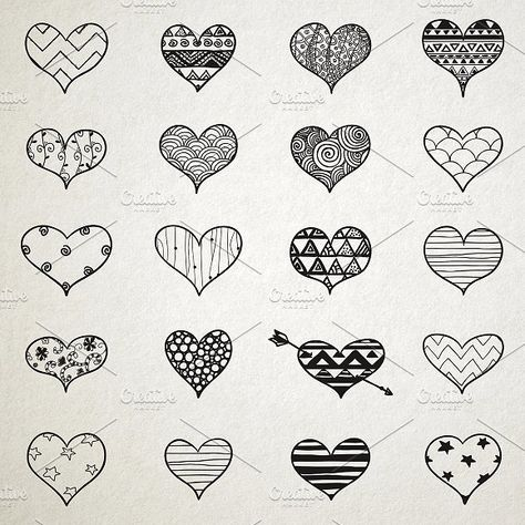 Hand Skeched Hearts Set by Olkin Store on @creativemarket