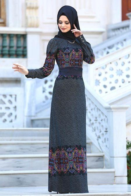 2018 2019 Yeni Sezon 2018 2019 Yeni Sezon Gunluk Elbise Koleksiyonu Neva Style Desenli Siyah Tesettur Elbise 2039s Daily Dress Dresses Muslimah Fashion