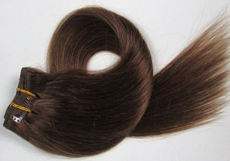10 pcs 66cm,160g 100% Remi Echthaar CLIP IN EXTENSION Nr.6 Medium Brown