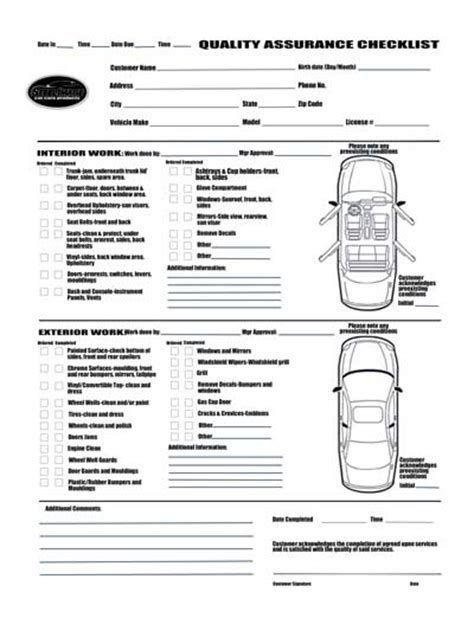 Image Result For Car Detail Checklist Contract Agreement Check