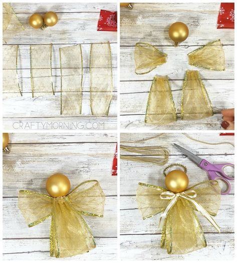 weihnachten engel How to Make Ribbon Angel Ornaments - Crafty Morning - - Christmas Ornament Crafts, Christmas Ornaments To Make, Christmas Angels, Diy Christmas Gifts, Christmas Art, Christmas Projects, Handmade Christmas, Holiday Crafts, Christmas Decorations