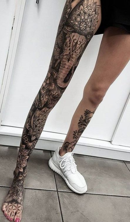 Mandala Leg Sleeve Tattoo Women