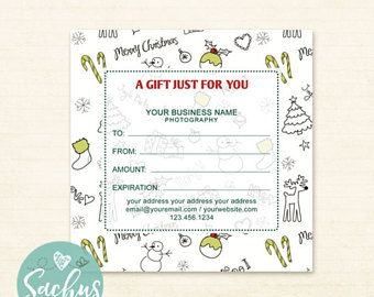 printable christmas gift certificate template editable photography studio gift card design photoshop template psd