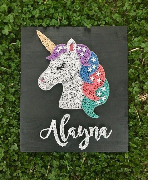 Wooden String Art Unicorn Name
